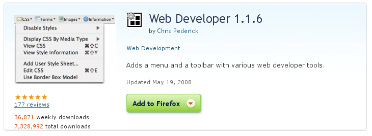 Firefox Web Developer Extension